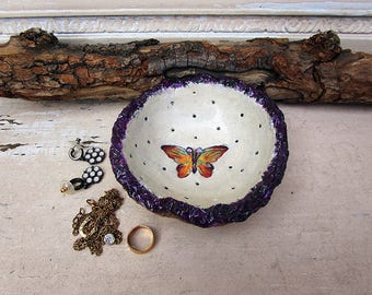 Butterfly Jewelry Holder, Alternative Ring Bearer Pillow, Thick and sturdy Free Form Handbuilt Pottery Bowl with A Butterfly, Ready to Ship.