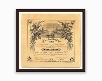 Custom Vintage Marriage Certificate - Romantic - Marriage Certificate - Antiqued Floral Design
