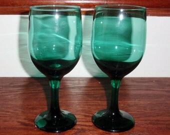"2 LIBBEY ROCK SHARPE 11 Oz Premiere Juniper Dark Green Wine Glasses Goblets Stems 7"" High Pair Two Excellent Condition"