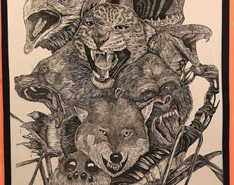 PRIMAL - 3' x 5' Woodblock Print