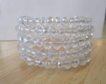 5 Row Memory Wire Cuff Bracelet with Clear Crystal Beads