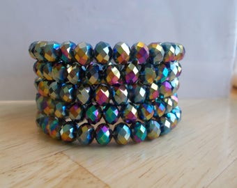 5 Row Memory Wire Cuff Bracelet with Multi Color Crystal Beads