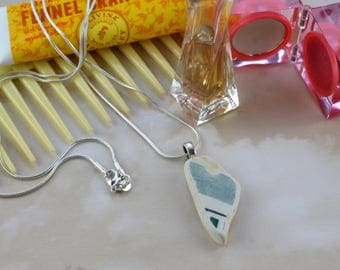 White and Blue - Scottish Beach Pottery Necklace - Sustainable - Beachcomber - Eco Friendly - Upcycled Jewellery - Silver Chain Necklace