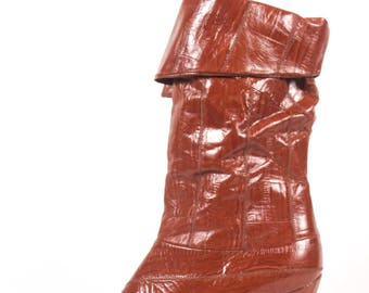 VINTAGE 80s Cognac Fold Over Heeled Soft Leather Boots 7.5 | Brown Leather Go Go Boots |