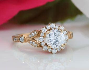 Floral Moissanite Engagement Ring Vintage Diamond Halo Setting