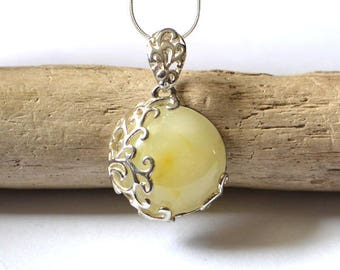 White Amber Necklace, Amber Pendant, Natural Amber Jewelry, Modern amber silver necklace