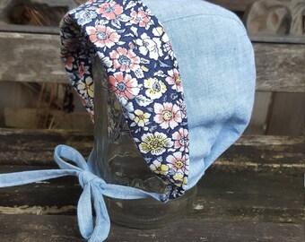 Brimmed Baby Bonnet Reversible - Sunhat - Girls Hat - Summer Hat - blue denim inspired - Blue/Pink floral - Vintage Inspired - new baby gift