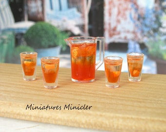 Miniature Dollhouse Orange Drink Set 1:12