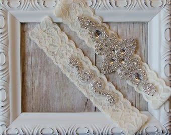 BEST SELLER Wedding Garter, Bridal Garter, Wedding Garter Set, Lace Bridal Garter Set, Ivory Bridal Garter Belt, wedding dress, custom