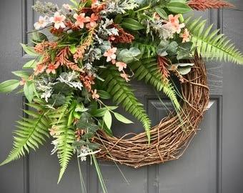 Spring Wreaths, Fern Wreaths, Spring Door Wreath, Spring Decor, Gift for Her, Housewarming Gift, Mothers Day, Fern Door Wreath, Coral