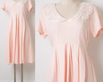80s Dress, Vintage Pink Dress, Pan Collar Dress, Empire Waist Dress, Vintage day dress, Summer Dress, 80s pink dress, Light Pink Dress - S/M