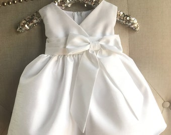 Baby Girl Christening Dress Baby White Baptism Dress ivory baptism dress Toddler christening gown large bow baby dress Mary jane baby dress