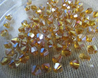 4mm Champagne AB Bicones (100) Amber AB Glass Crystals Champagne AB Crystal Beads Loose Beads Faceted Crystals for Jewelry Making