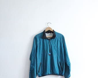 Sporty Teal Mesh 90s Windbreaker Jacket