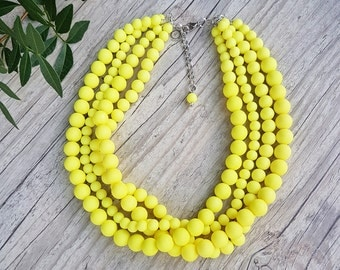 Yellow necklace,Lemon yellow four strand beaded necklace, Pale yellow beaded statement necklace, Neon yellow necklace,Color blocking jewelry