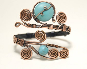 copper wire with turquoise bracelet wire wrapped jewelry handmade copper wire jewelry wire wrapped bracelet handmade