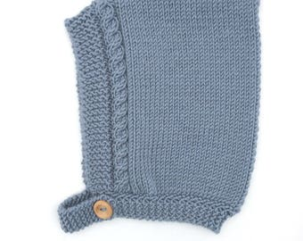Cable Knit Baby Pixie Hat in Mist Blue