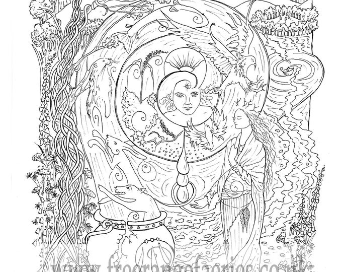 Featured listing image: Cerridwen's Spell Colouring and Story Sheet Instant Download