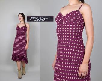1990's Betsey Johnson bias cut Silk Polka Dot hi low crochet trim Lace Ruffle dress