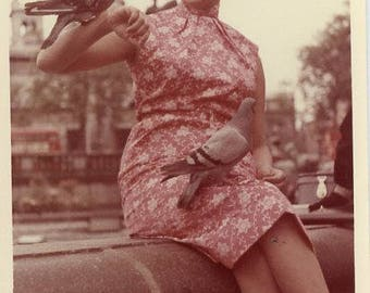 Vintage 1960s Original photo Young Woman holding Pigeons ~ B83 from the USA