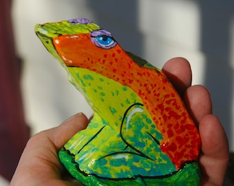 painted rock tropical frog