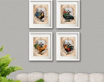 Roosters Wall Decor Set