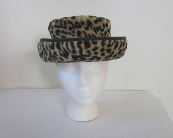 1960s Leopard Print Velour Fashion Hat