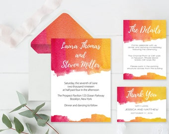 Watercolor Wedding Invitation Suite Templates Envelope Liners Printable Wedding Invitation, Details, Thank You, RSVP, DIY You Print