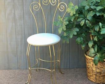 Vintage Gold Metal Vanity Stool, Hollywood Regency Gold and White Vanity Chair