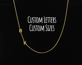 Sideways Initial Necklace, Initial Necklace, Dainty Necklace, Letter Necklace, Monogram Necklace, Personalize Necklace, Personalize Jewelry