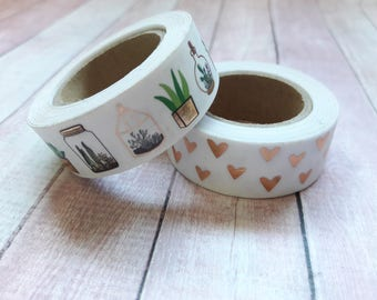 Succulents & Copper Foil Hearts Washi Tape Embellishments And Paper Craft Supplies
