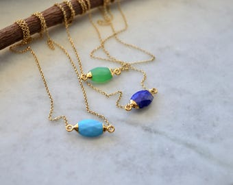 Turqoise lapis lazuli aventurine gold necklace, gemstone gold necklace, aventurine necklace, turquoise necklace, lapis lazuli necklace