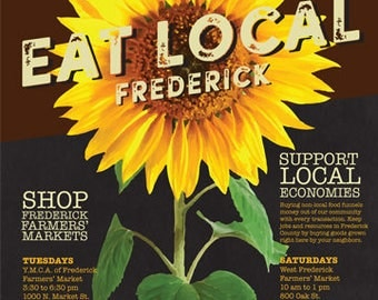 Eat Local Frederick Poster: Sunflower 18x24