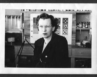 Vintage Snapshot Photo Woman Posing at Work in Lab 1940's, Original Found Photo, Vernacular Photography