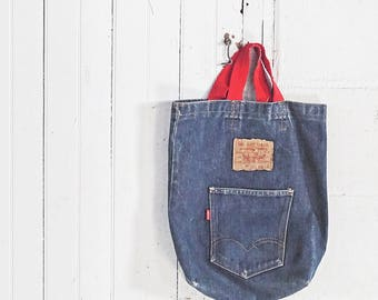 70s Levi's Denim Tote Bag - 501 Jean Short Red Handle  - Now! Design San Francisco - Made in USA