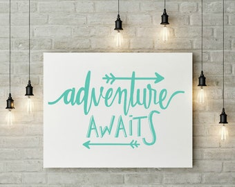 Adventure Decal, Car Decal, Adventure Car Decal, Adventure Sticker, Adventure Awaits, Adventure Wall Decor, Adventure Wall Art, Arrow Decal
