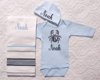 Baby boy nautical etsy baby boy nautical coming home outfit blue and gray bodysuit hat and burp cloth blue crab negle Gallery