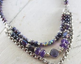 necklace, amethyst necklace, pearl necklace, purple necklace, bohemian necklace, boho necklace, Christmas for her, purple
