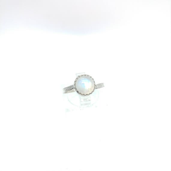 Moonstone Ring | Sterling Silver Ring Sz 7.25 | Rainbow Moonstone Ring | Non-Diamond Engagement Ring | Diamond Alternative | Blue Moonstone