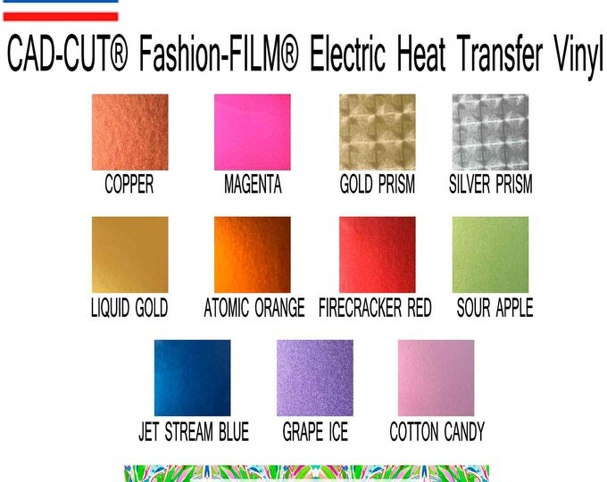 Featured listing image: Stahls'® CAD-CUT® Fashion-FILM® Electric Heat Transfer Vinyl sheet 12x15 inch metallic
