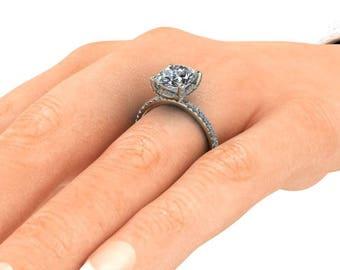Oval Moissanite Engagement Ring, 3 Carat Oval Neo Moissanite or Forever One Moissanite, Recycled 14k Gold, Accent Diamonds, Diamond Ring