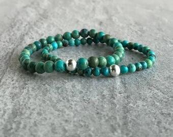 Genuine Turquoise Bracelet /  Men's, Women's Sterling Silver Turquoise Jewelry / Blue Green Stone Stretch Bracelet / Small Bead Bracelet