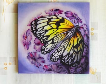 Canvas print Wall art panel butterfly flowers Contemporary art Printed artwork Original Small Home decor Blue pink picture Wedding Valentine