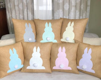 Burlap Bunny Pillow Pick Your Color- Easter Pillow,Spring Decor, Easter Bunny *SHIPS Within 3 DAYS!