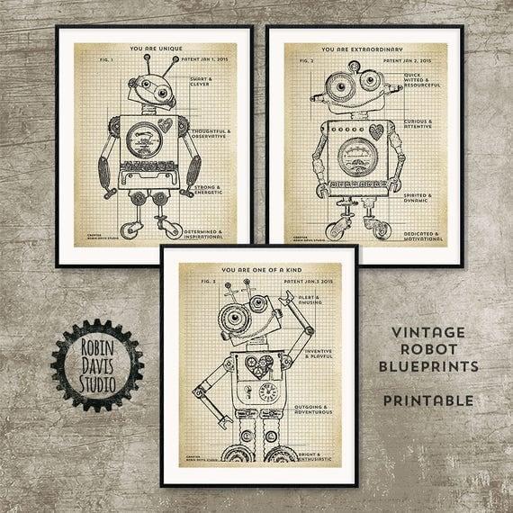 Robot blueprint printable 8x10 robot patent printable robot blueprint printable 8x10 robot patent printable vintage robot printable toy robot blueprints encouraging words robin davis studio malvernweather Choice Image