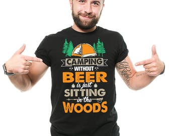 Camping T-Shirt Funny Outdoor Camping Apparel Beer Drinker Tee Shirt