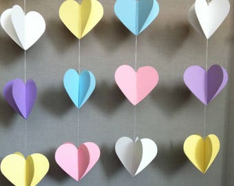 Pastel Hearts Garland - Unicorn Party - Rainbow Party - Girl Baby Shower - Bridal Shower Garland - Love Bunting - Sweets Table Decor - Heart