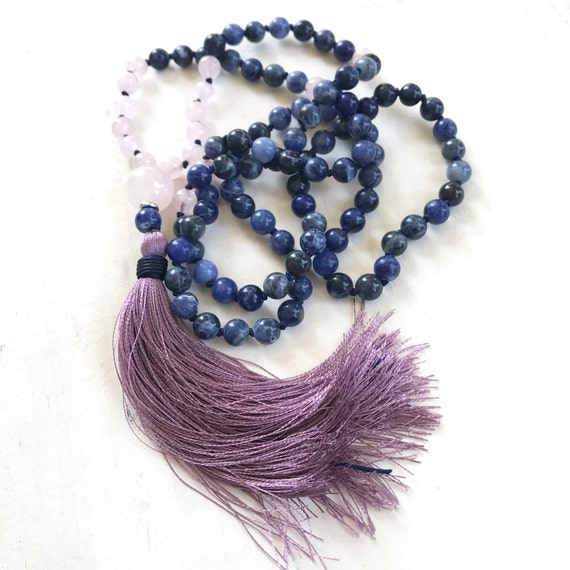 Blue Sodalite Knotted Mala Beads, Mala For Emotional Balance, Rose Quartz Mala, Inner Peace Mala Necklace, Mala Beads 108, Yoga Gifts