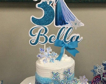 Frozen cake topper, Frozen inspired party, Frozen birthday, Personalized centerpiece cake topper, Elsa cake topper