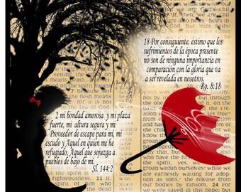 """Espanol Note Card """"Segura y Refugiado"""" -Scriptural 5""""x7"""""""
